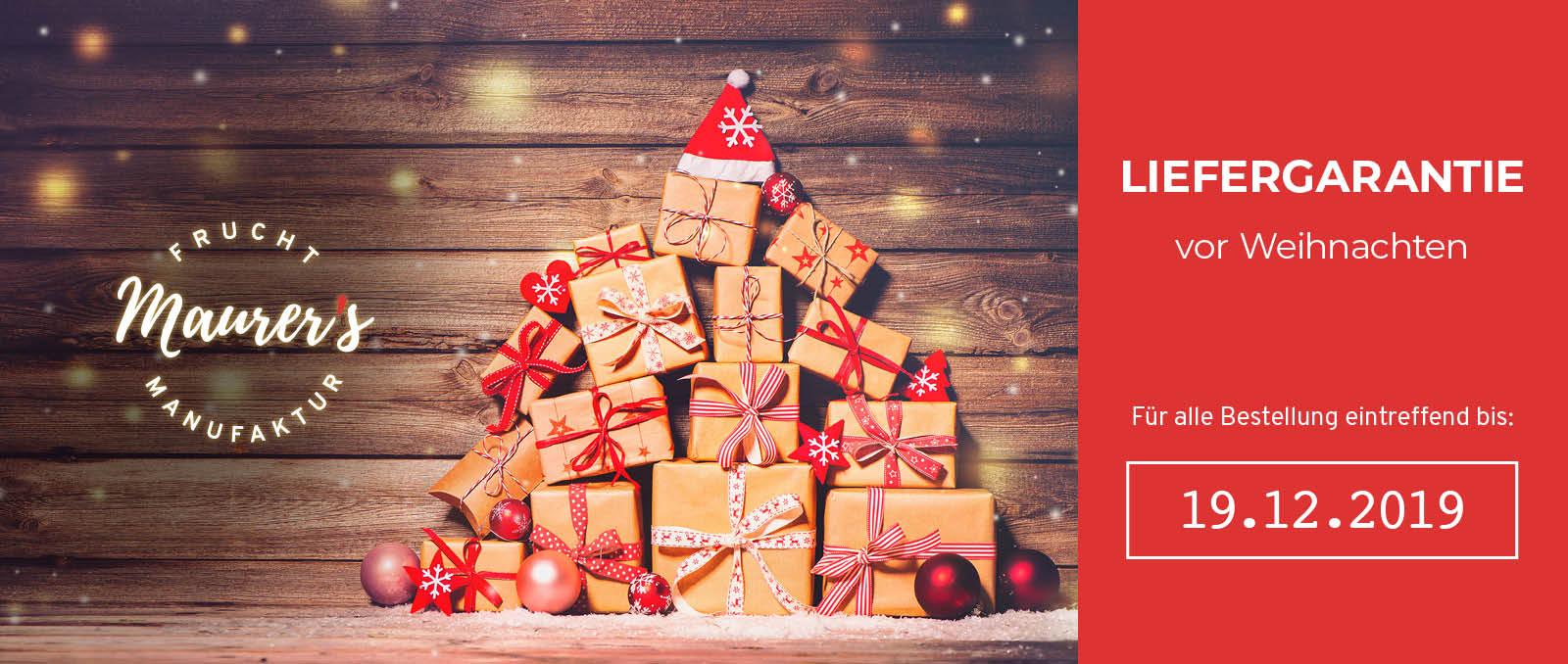 Für alle Bestellung spätestens Do, 19. Dez. 2019 bei uns einlangend können wir die rechtzeitige Lieferung vor Weihnachten garantieren.